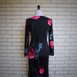 Vintage Pants - 1970s Romper Rose Print Jumper Polyester Vtg S